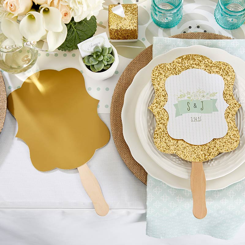 Personalized Gold Glitter Hand Fan - Rustic Wedding