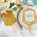 Personalized Gold Glitter Hand Fan - Kate's Rustic Wedding Collection