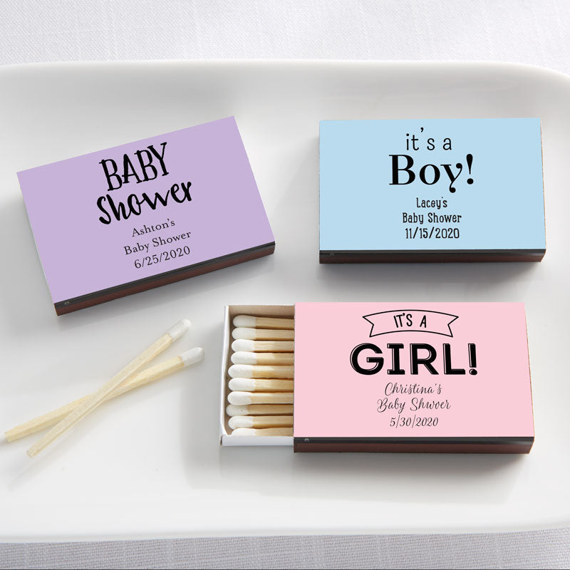 Personalized Black Matchboxes - Baby Shower (Set of 50)