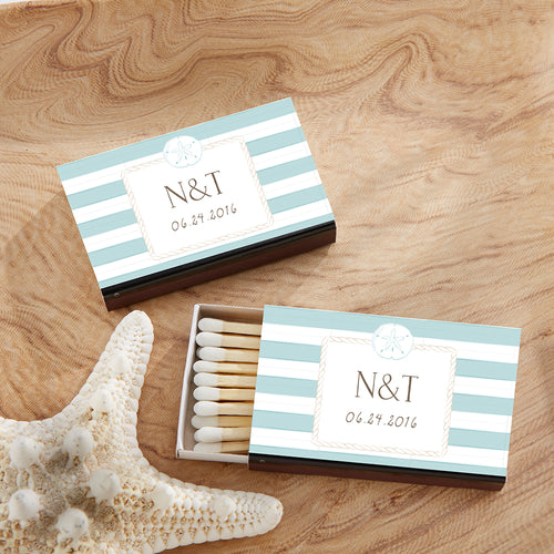 Personalized Black Matchboxes - Beach