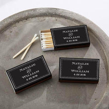 Load image into Gallery viewer, Personalized Black Matchboxes - Chalk (Set of 50)