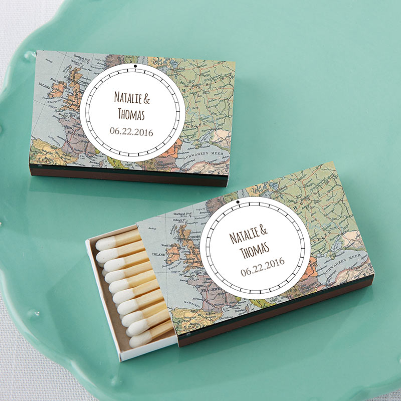 Load image into Gallery viewer, Personalized Black Matchboxes - Travel (Set of 50)