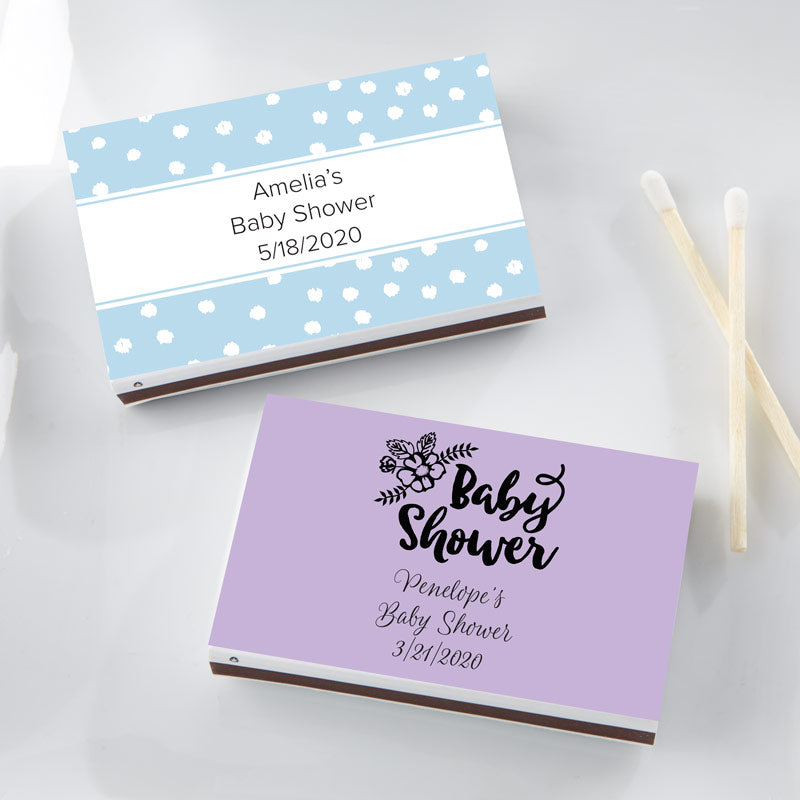 Personalized White Matchboxes - Baby Shower (Set of 50)