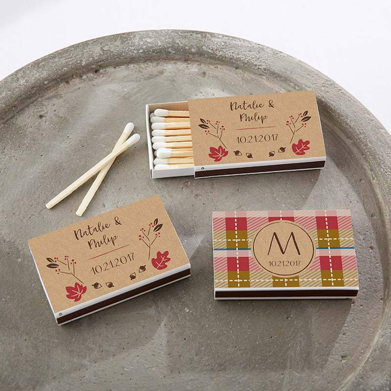 Personalized White Matchboxes - Fall (Set of 50)