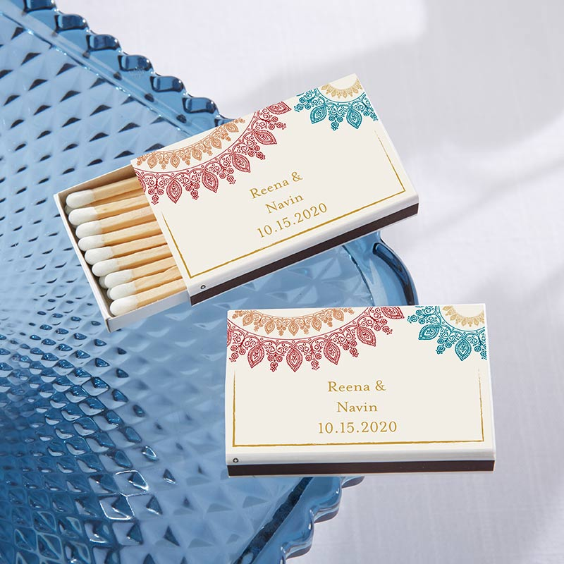 Personalized White Matchboxes - Indian Jewel (Set of 50)