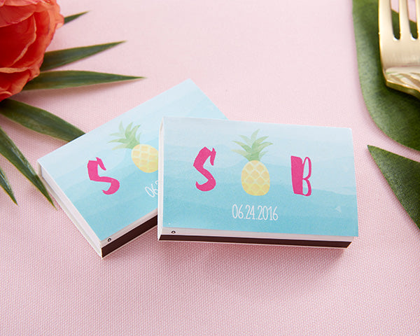 Personalized White Matchboxes - Pineapples & Palms (Set of 50)