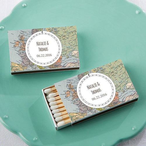 Personalized White Matchboxes - Travel (Set of 50)