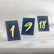 Load image into Gallery viewer, Navy and Gold Foil Tented Table Numbers (1-18)