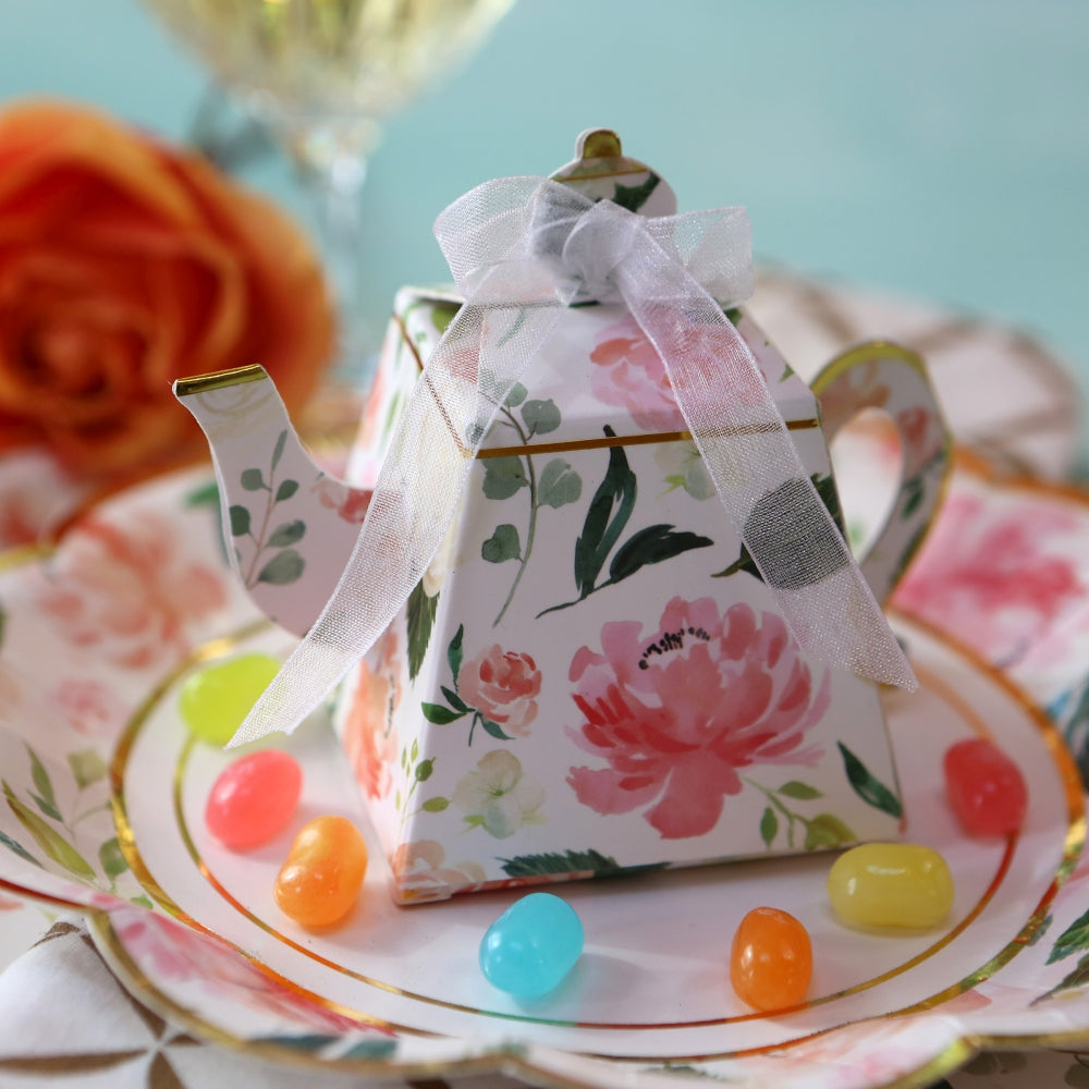 Load image into Gallery viewer, Floral Teapot Favor Box (Set of 24)