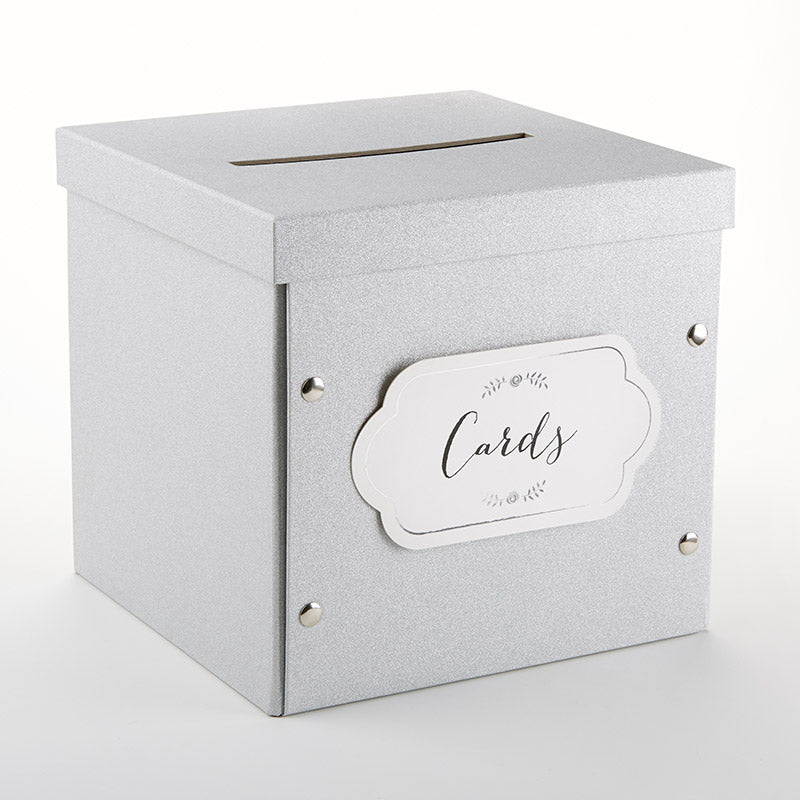 Load image into Gallery viewer, Silver Glitter Collapsible Card Box