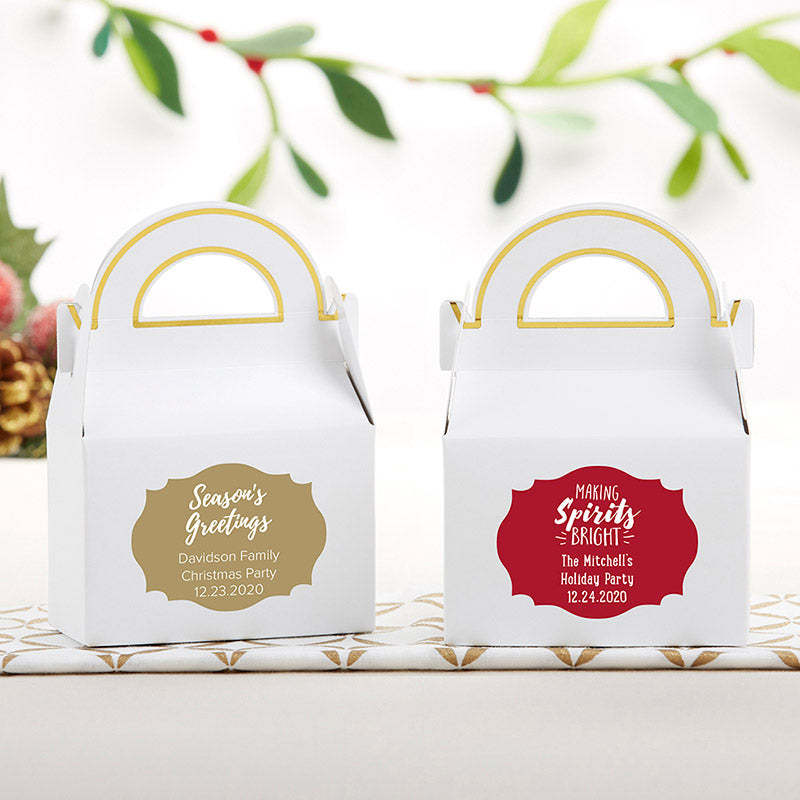 Personalized Gable Favor Box - Holiday (Set of 12)