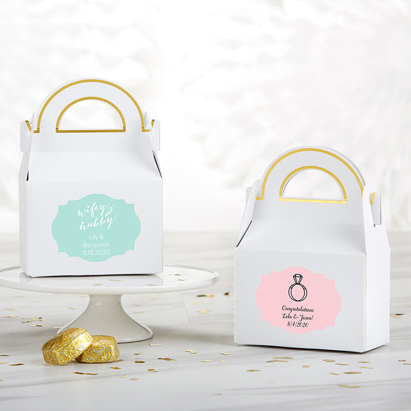 Personalized Gable Favor Box - Wedding (Set of 12)