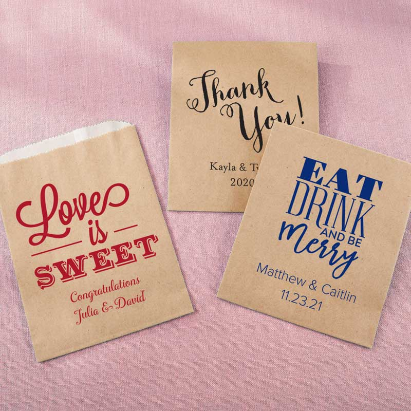 Personalized Kraft Goodie Bag - Wedding (Set of 12)