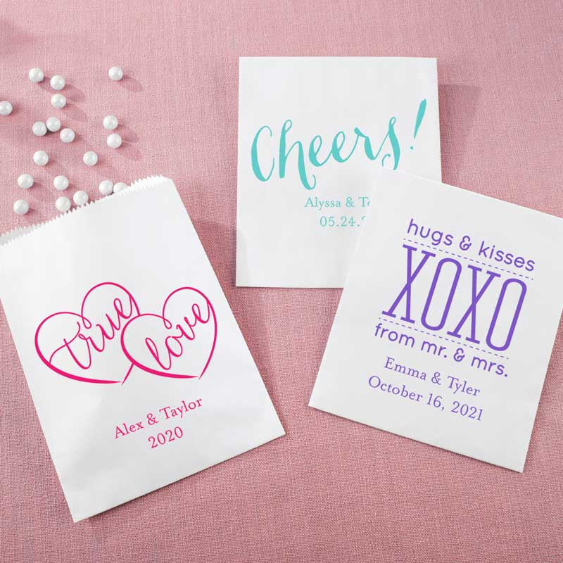 Personalized White Goodie Bag - Wedding (Set of 12)