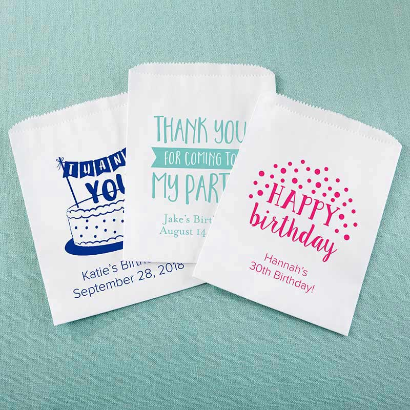 Personalized White Goodie Bag - Adult Birthday (Set of 12)