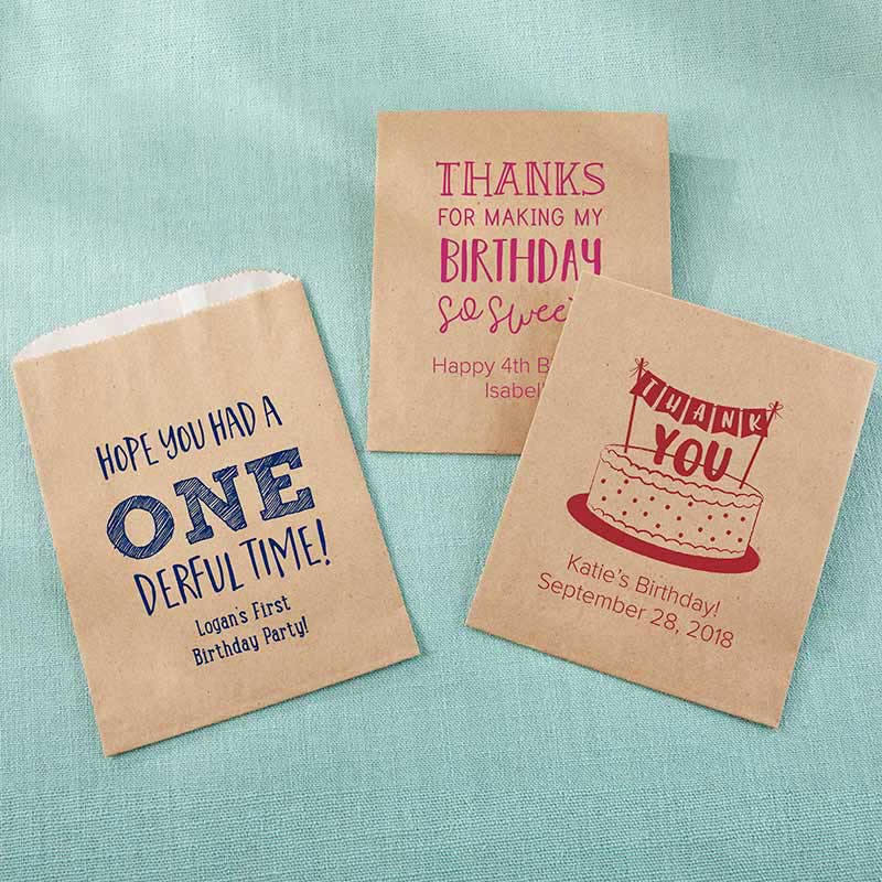 Personalized Kraft Goodie Bag - Kids Birthday (Set of 12)
