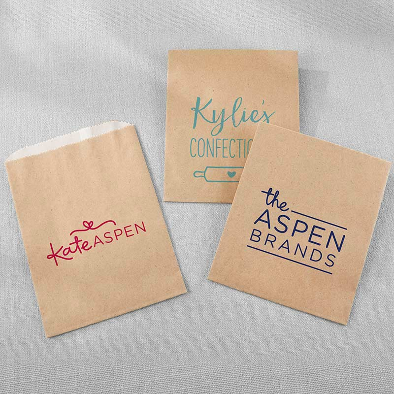 Personalized Kraft Goodie Bags - Custom Design (Set of 12)