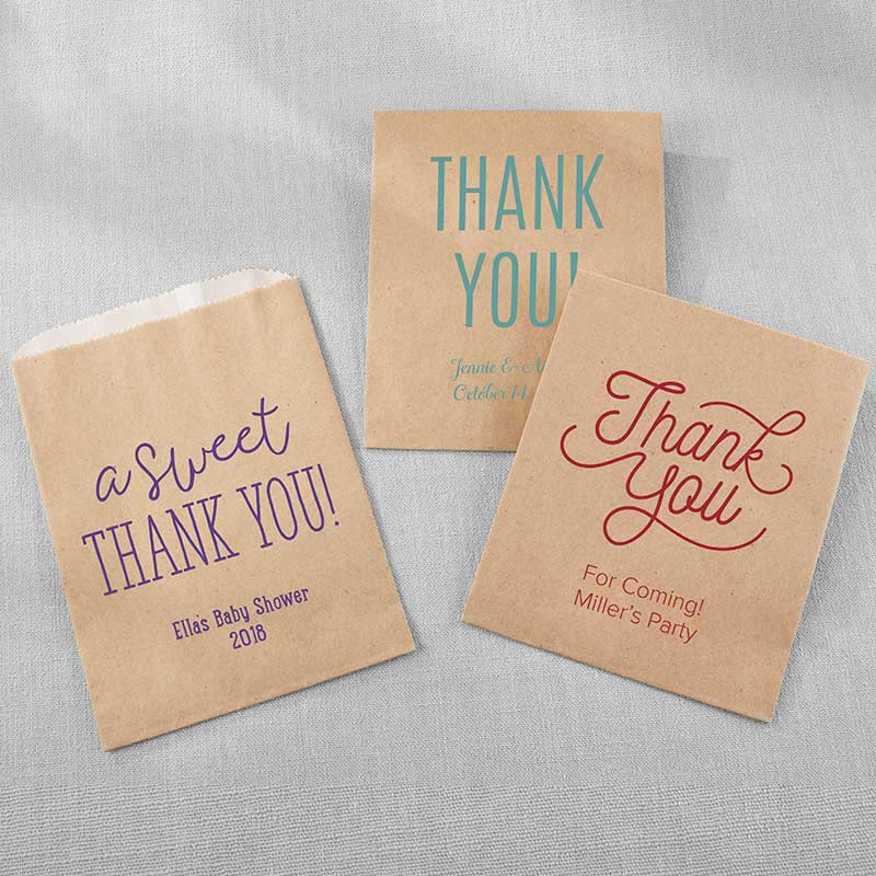 Personalized Kraft Goodie Bag - Thank You (Set of 12)