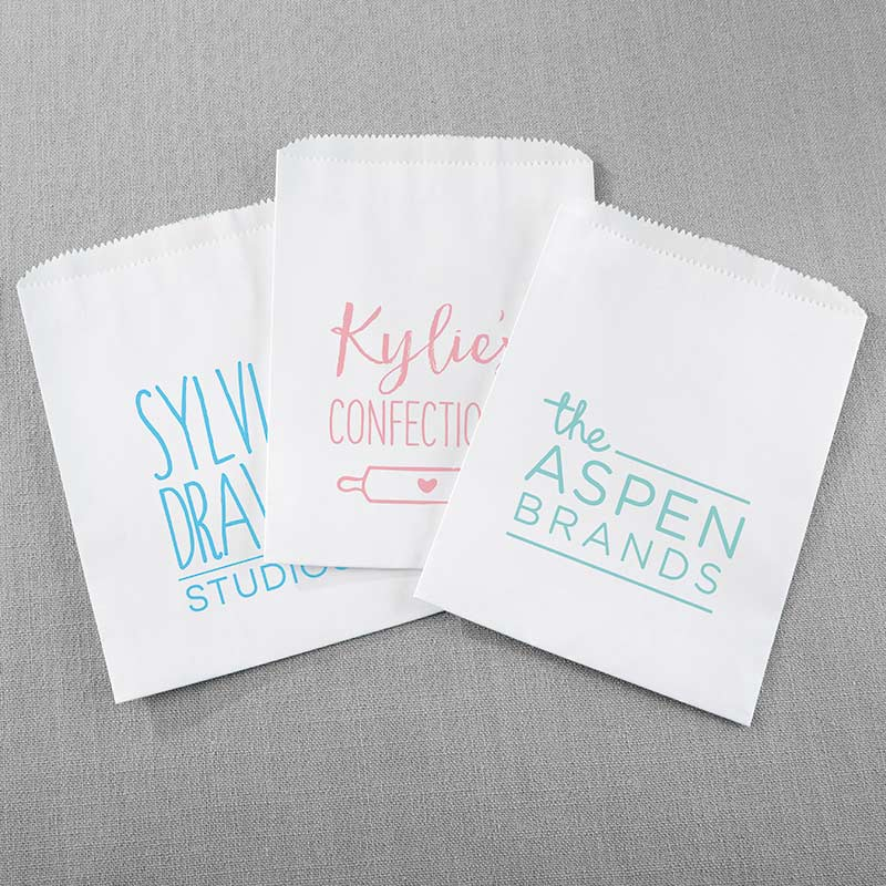 Personalized White Goodie Bags - Custom Design (Set of 12)