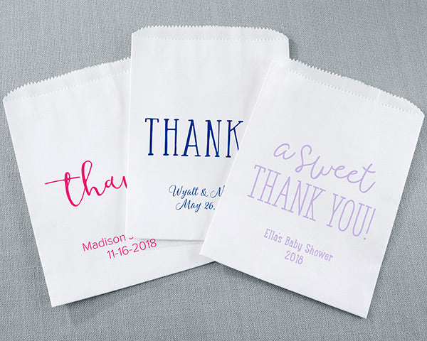 Personalized White Goodie Bag - Thank You (Set of 12)