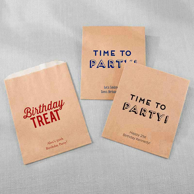 Personalized Kraft Goodie Bag - Boozy Birthday (Set of 12)