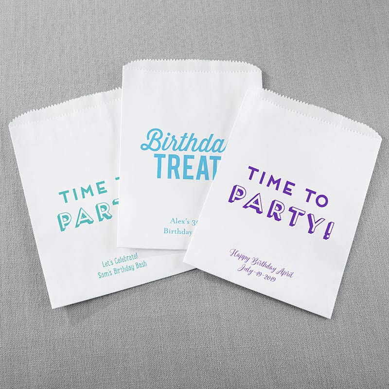 Personalized White Goodie Bag - Boozy Birthday (Set of 12)