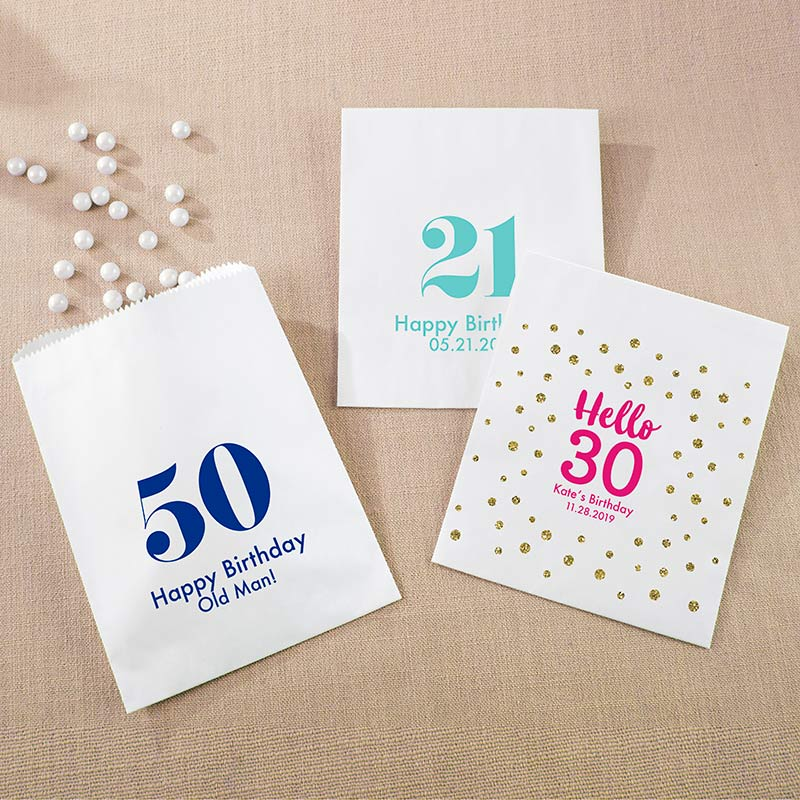 Personalized White Goodie Bag - Milestone Birthday (Set of 12)