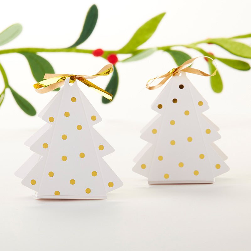 Gold Dotted Christmas Tree Favor Box (Set of 12)