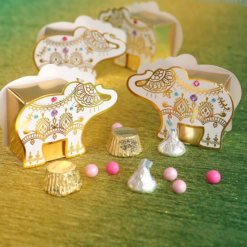 Lucky Golden Elephant Favor Box (Set of 12)