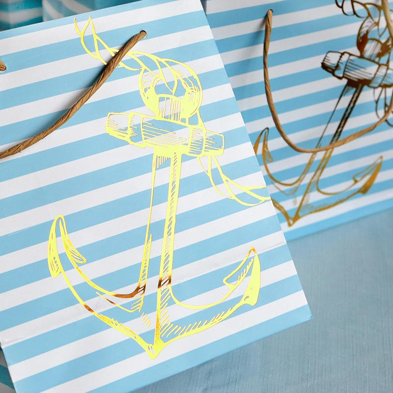 Load image into Gallery viewer, Nautical Anchor Striped Welcome Bag (Set of 6)