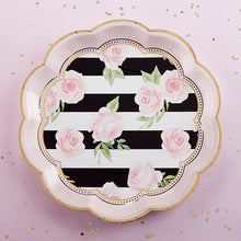 Load image into Gallery viewer, Floral Striped 9 in. Paper Plates (Set of 8)