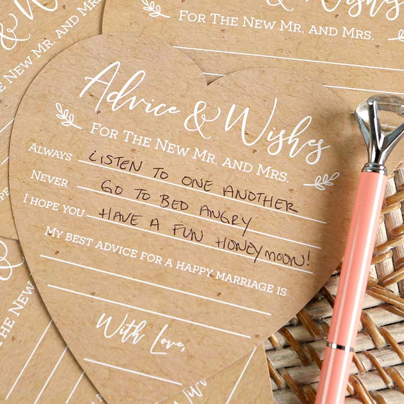 Load image into Gallery viewer, Wedding Advice Card - Heart Shape (Set of 50)