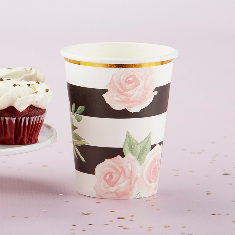 Load image into Gallery viewer, Floral Striped 8 oz. Paper Cups (Set of 8)