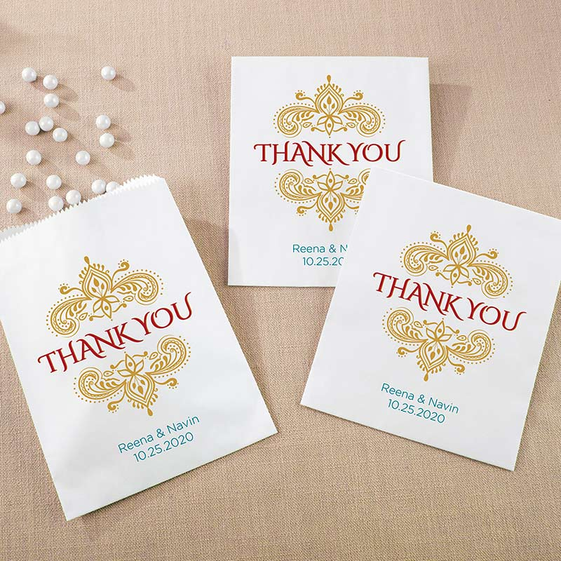Personalized White Goodie Bag - Indian Jewel (Set of 12)