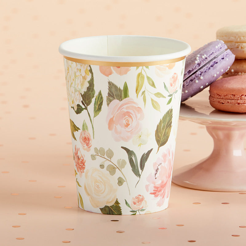Load image into Gallery viewer, Floral 8 oz. Paper Cups (Set of 8)