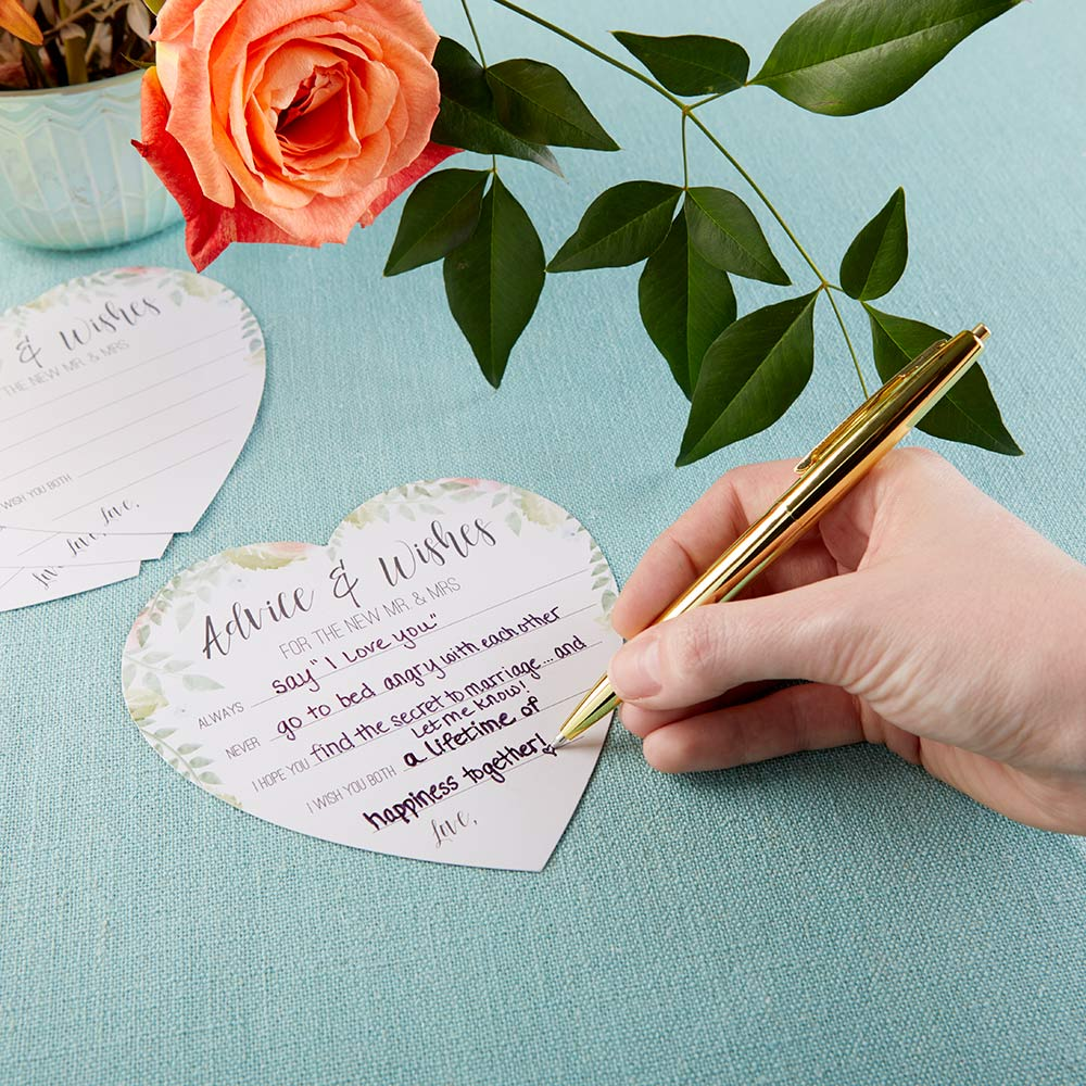 Floral Wedding Advice Card - Heart Shape (Set of 50)