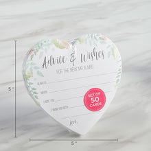 Load image into Gallery viewer, Floral Wedding Advice Card - Heart Shape (Set of 50)