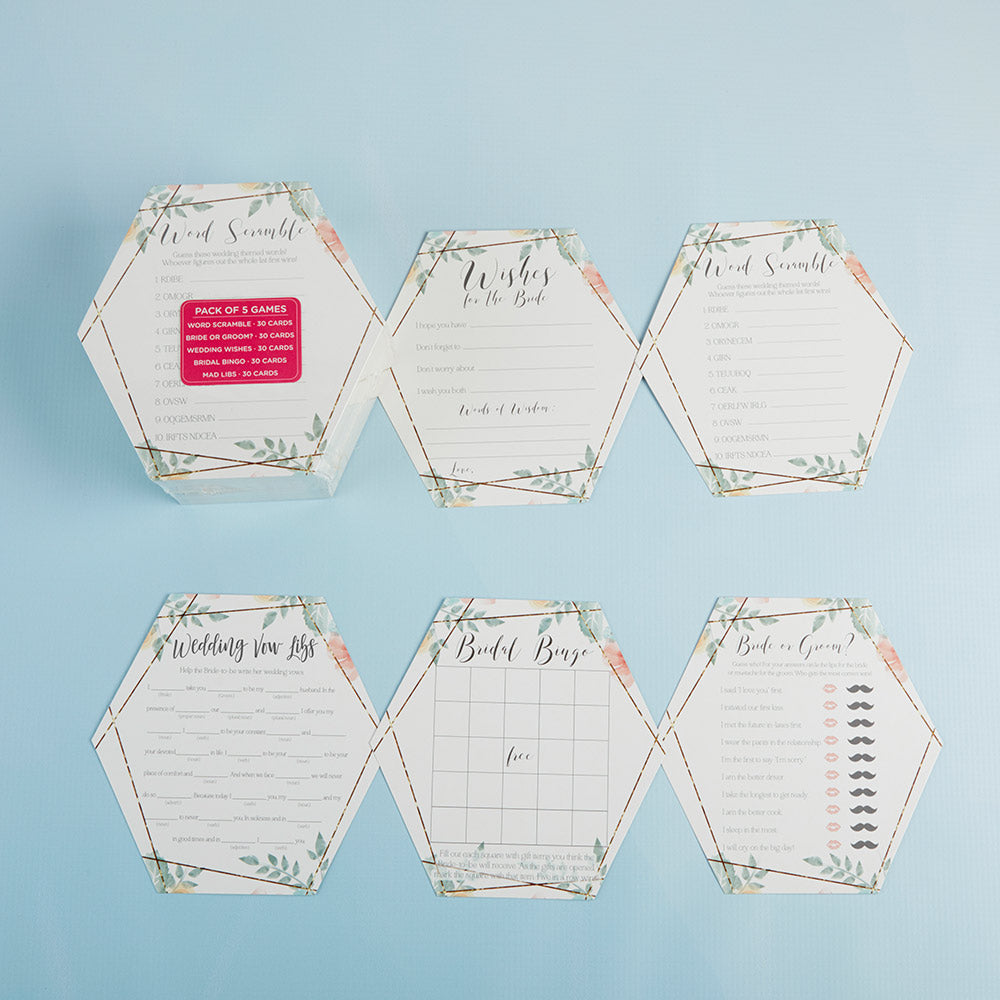 Load image into Gallery viewer, Geometric Floral Bridal Shower 5-Pack Game Card Set (30 sheets each)