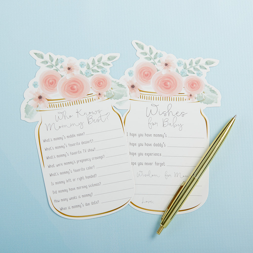 Floral Mason Jar Baby Shower 5-Pack Game Card Set (30 sheets each)