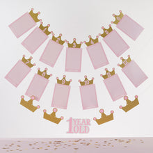 Load image into Gallery viewer, 1st Birthday Milestone Photo Banner & Cake Topper - Princess Party
