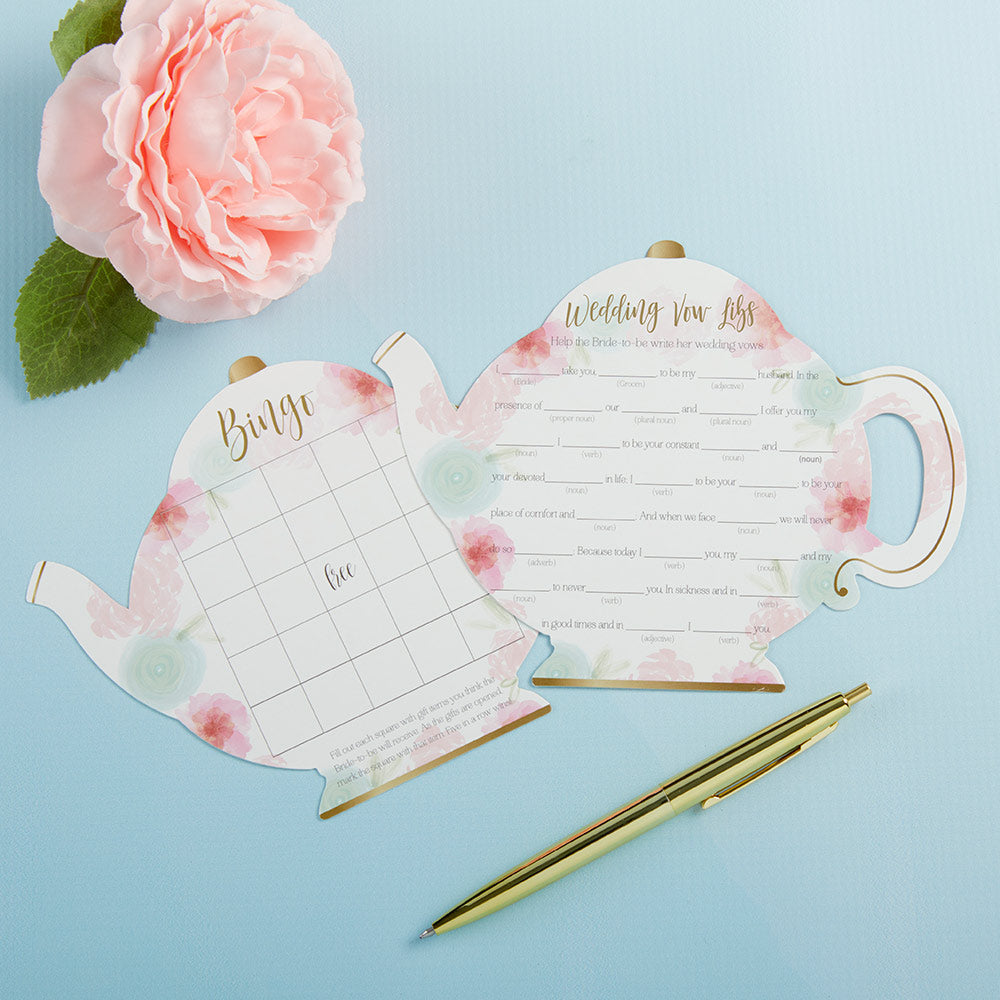 Floral Teapot Bridal Shower 5-Pack Game Card Set (30 sheets each)