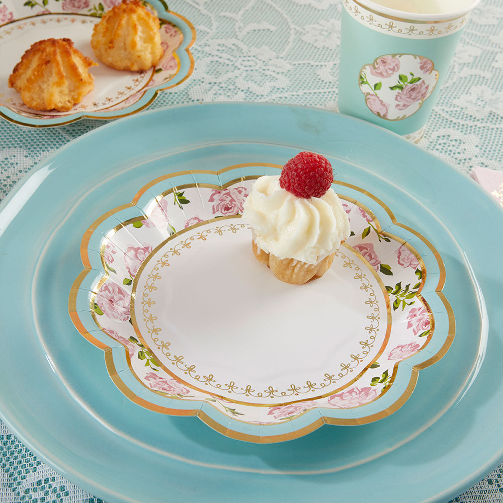 Tea Time Whimsy 7 in. Paper Plates - Blue (Set of 16)