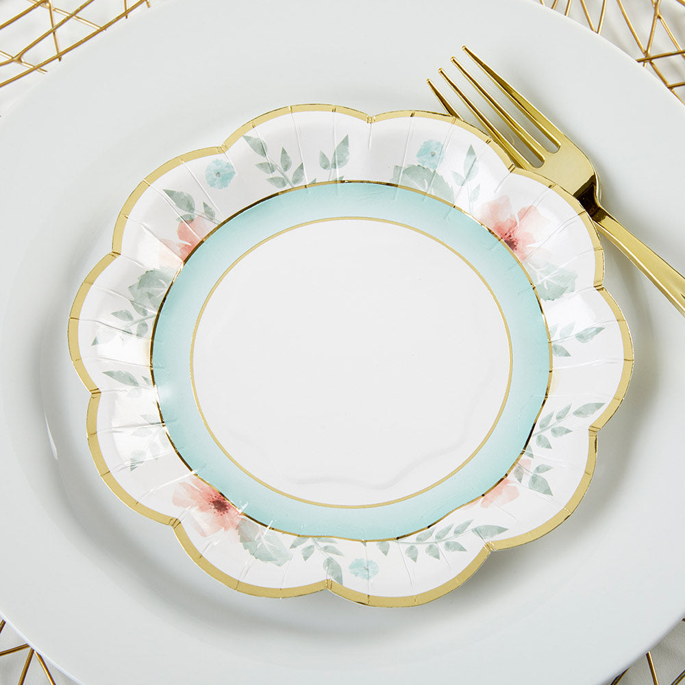 Geometric Floral 7 in. Paper Plates (Set of 16)