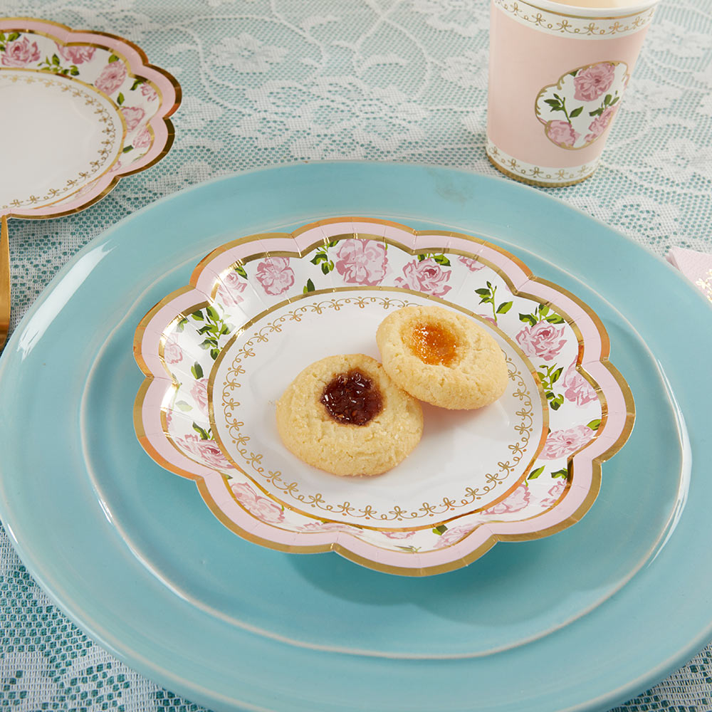 Tea Time Whimsy 7 in. Paper Plates - Pink (Set of 16)