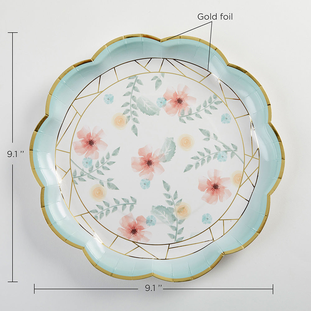 Geometric Floral 9 in. Paper Plates (Set of 8)