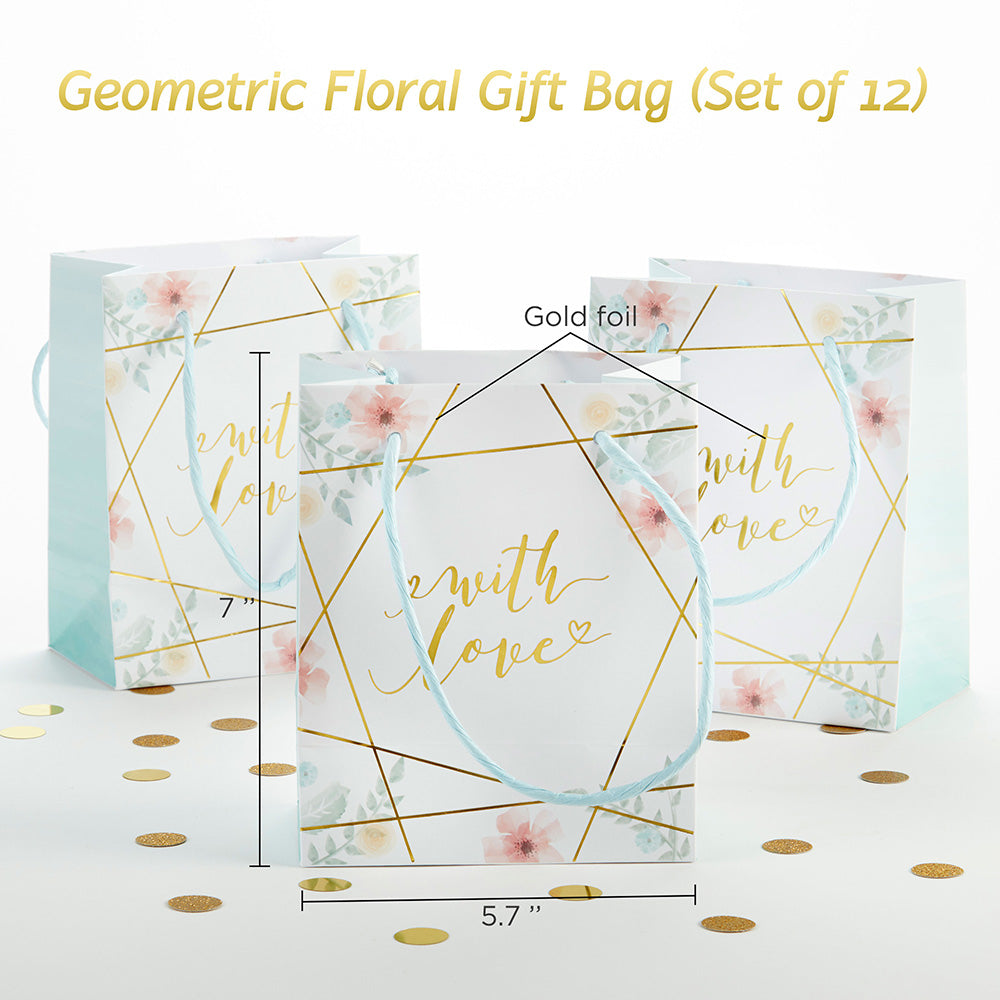 Load image into Gallery viewer, Geometric Floral Gift Bag (Set of 12)