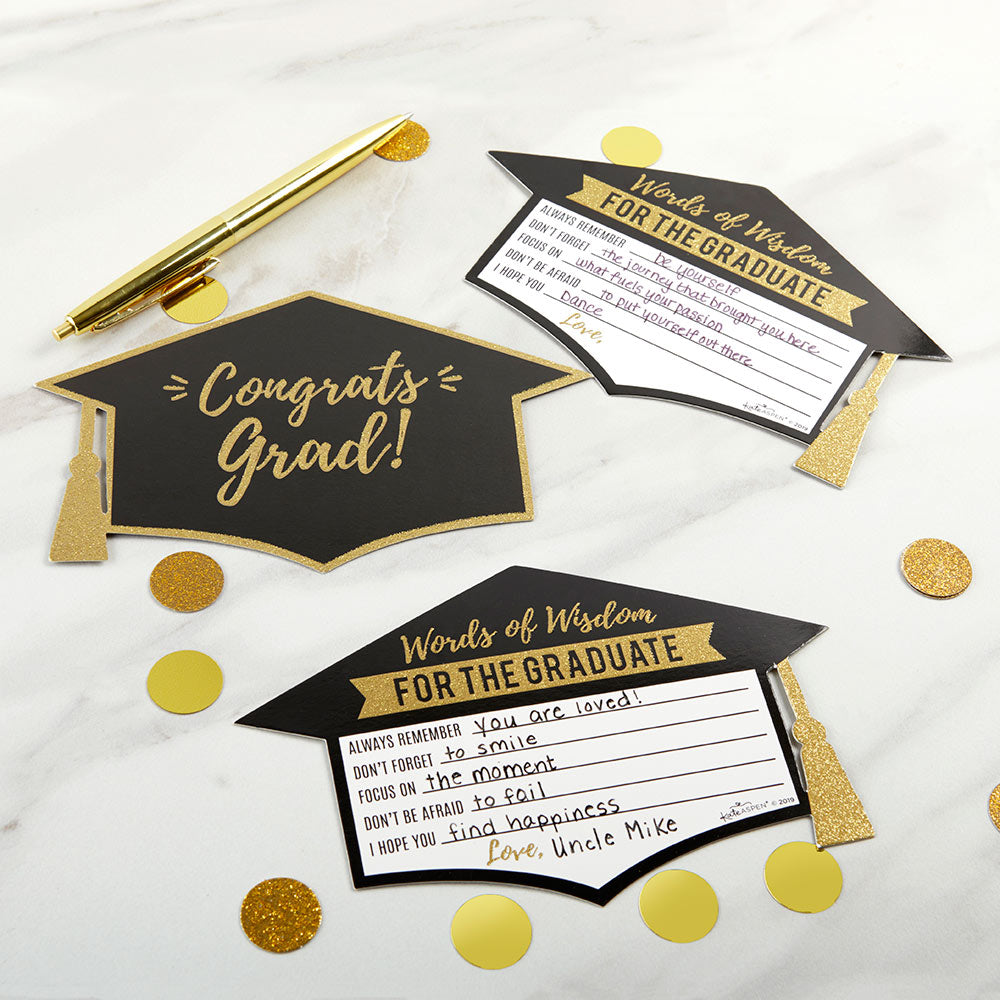 Graduation Advice Card - Gold Glitter Cap Shape (Set of 50)