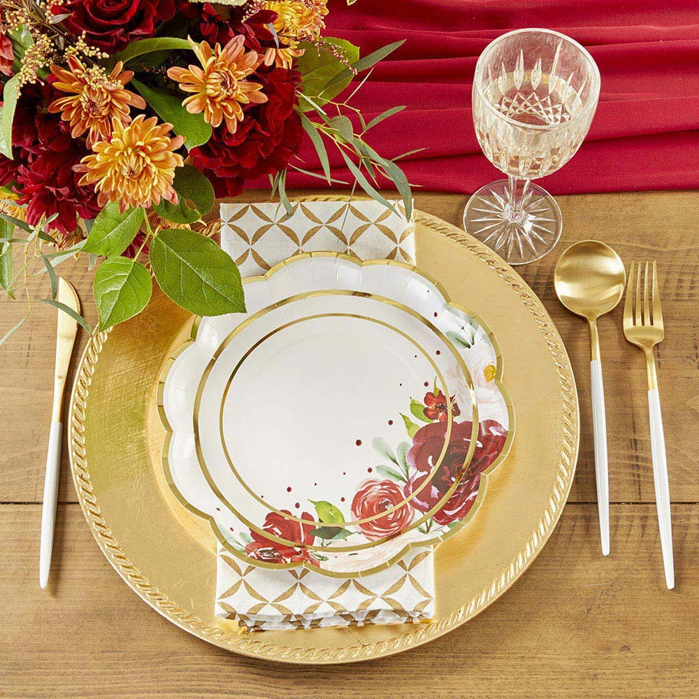 Burgundy Blush Floral 9 in. Premium Paper Plates (Set of 16)