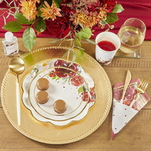 Load image into Gallery viewer, Burgundy Blush Floral 9 in. Premium Paper Plates (Set of 16)
