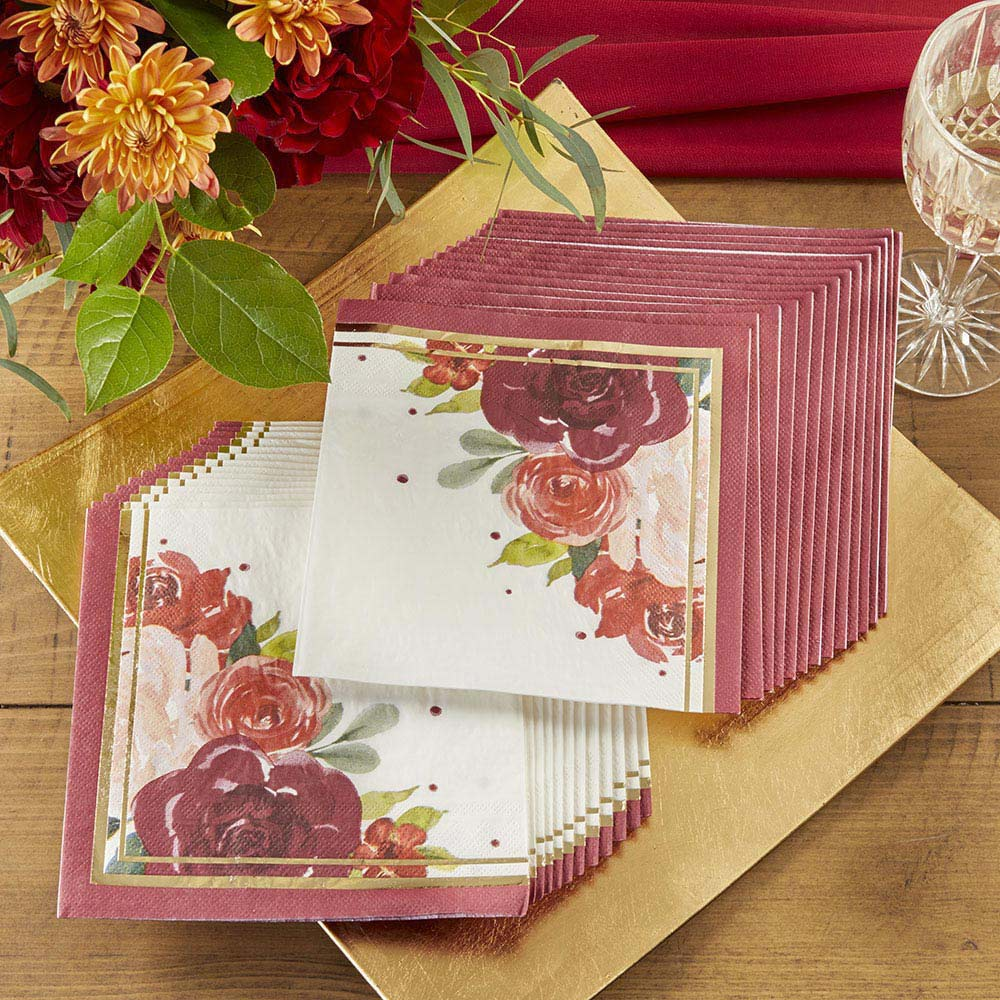 Burgundy Blush Floral 2 Ply Paper Napkins (Set of 30)